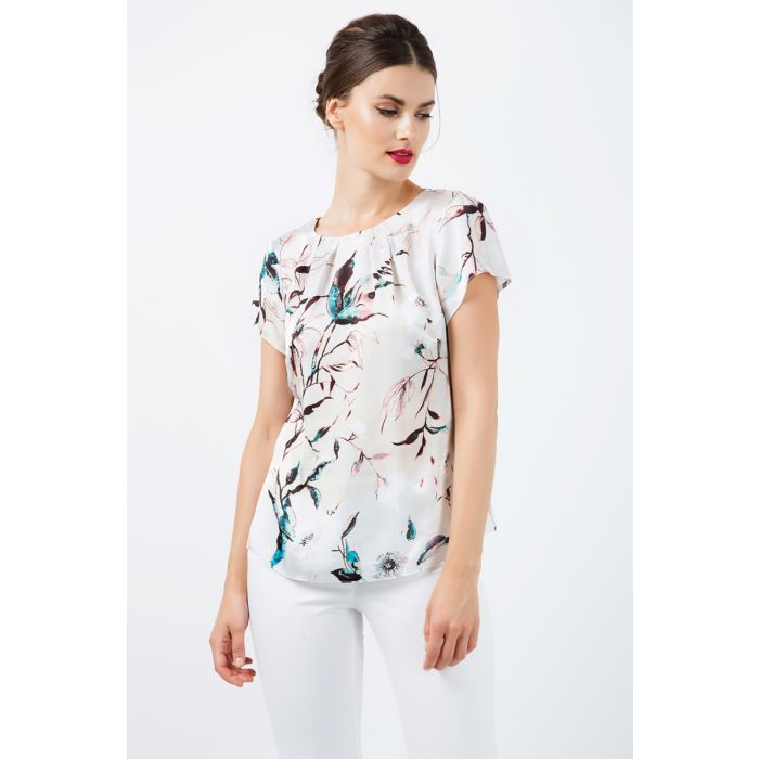 Image for Short Sleeve Print Satin Top