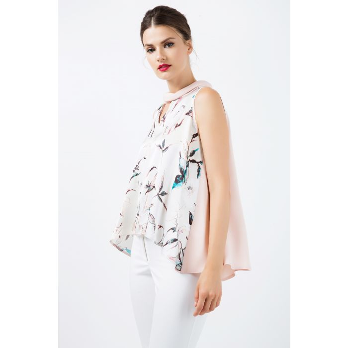 Image for Sleeveless Print Satin Top