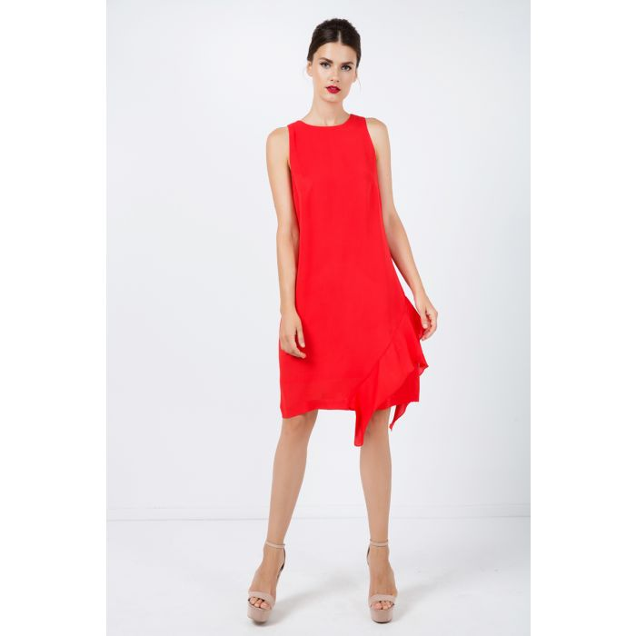 Image for Frill Detail Red Sleeveless Dress