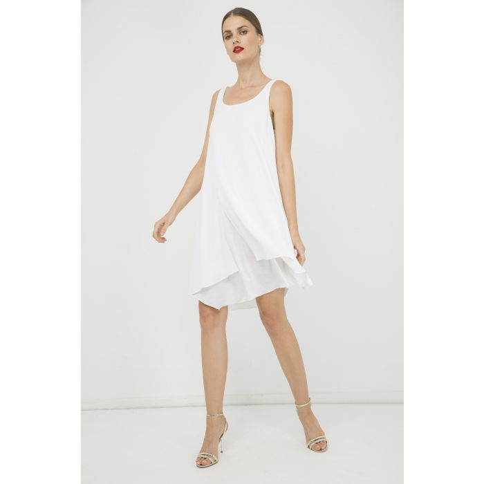 Image for White Sleeveless Layer Dress with Slit