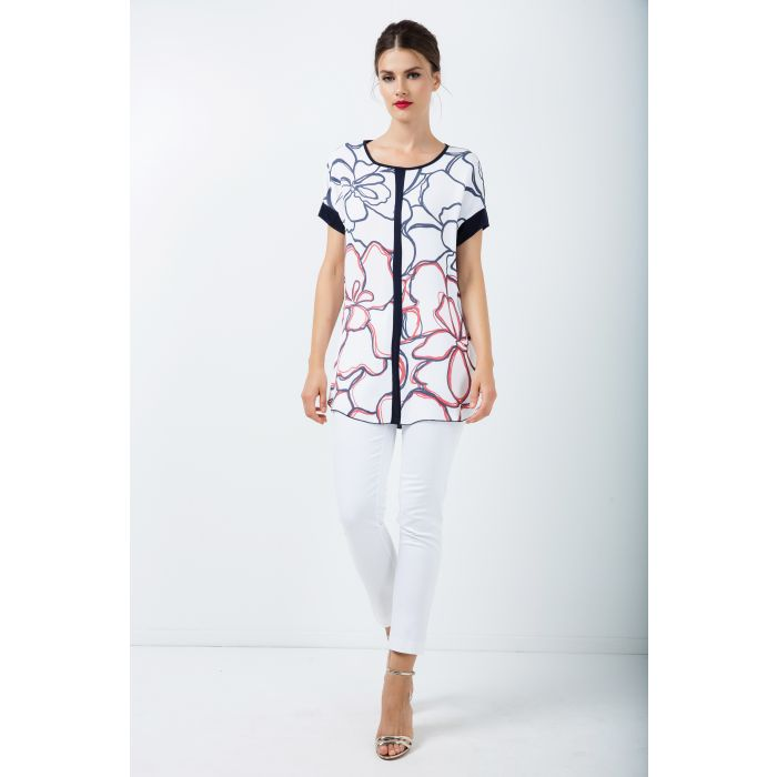 Image for Panel Detail Short Sleeve print Top