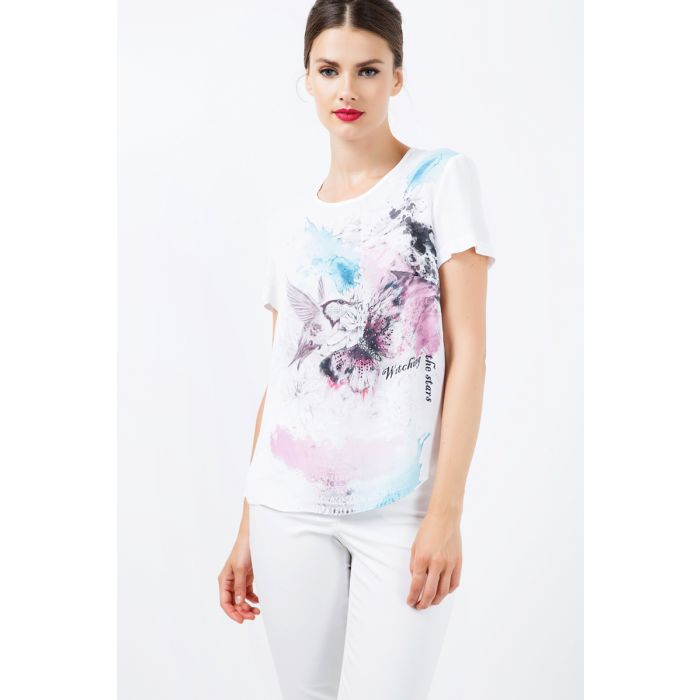 Image for Short Sleeve Print Detail Top