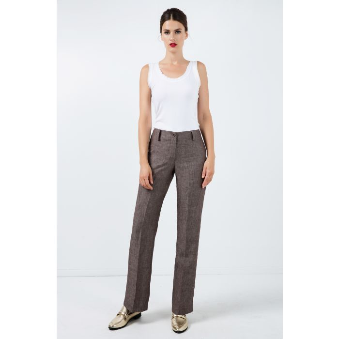 Image for Long Straight Linen Pants
