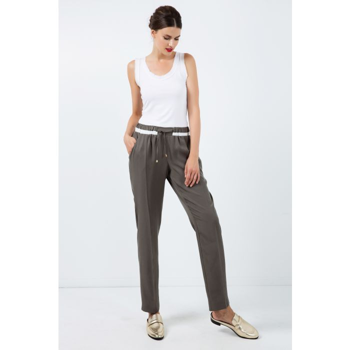 Image for Long Khaki Pants with Cream Panel