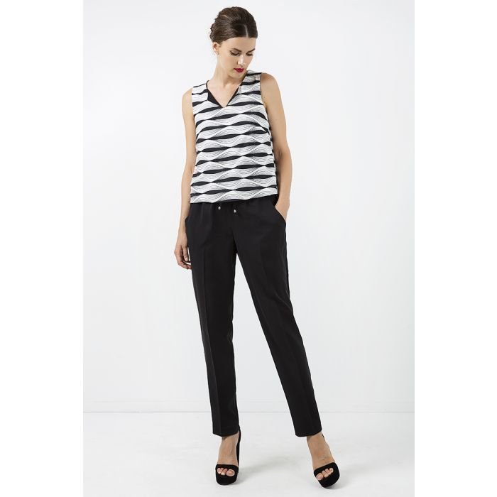 Image for Long Black Pants with Tie Detail