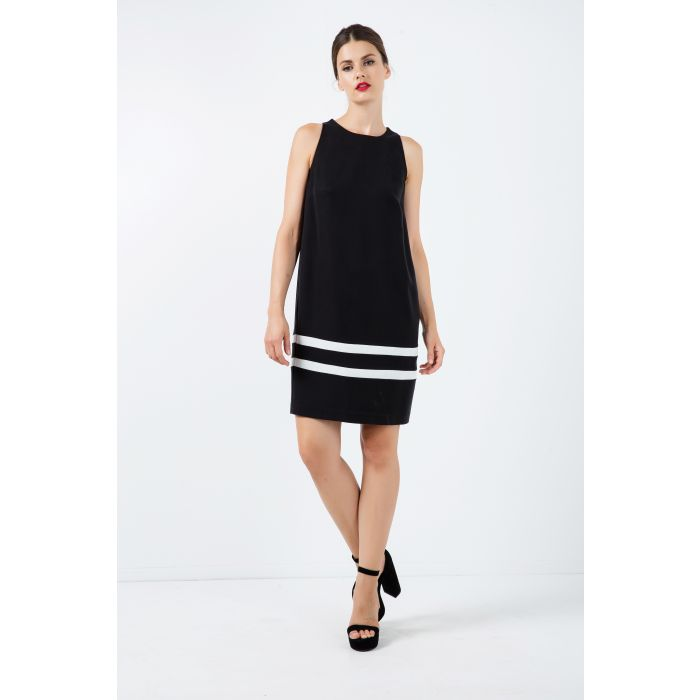 Image for Black Sleeveless Dress with White Stripe Detail
