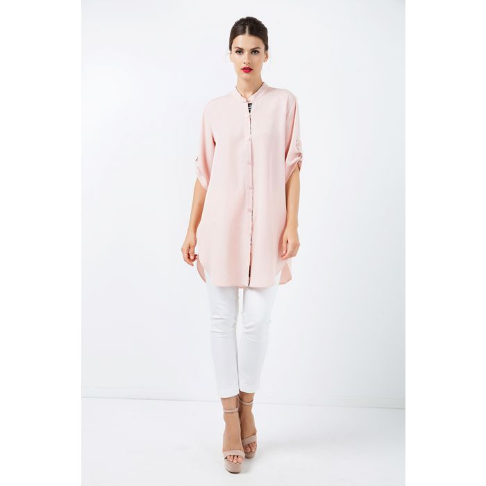 Image for Long Pink Shirt with Stripe Detail
