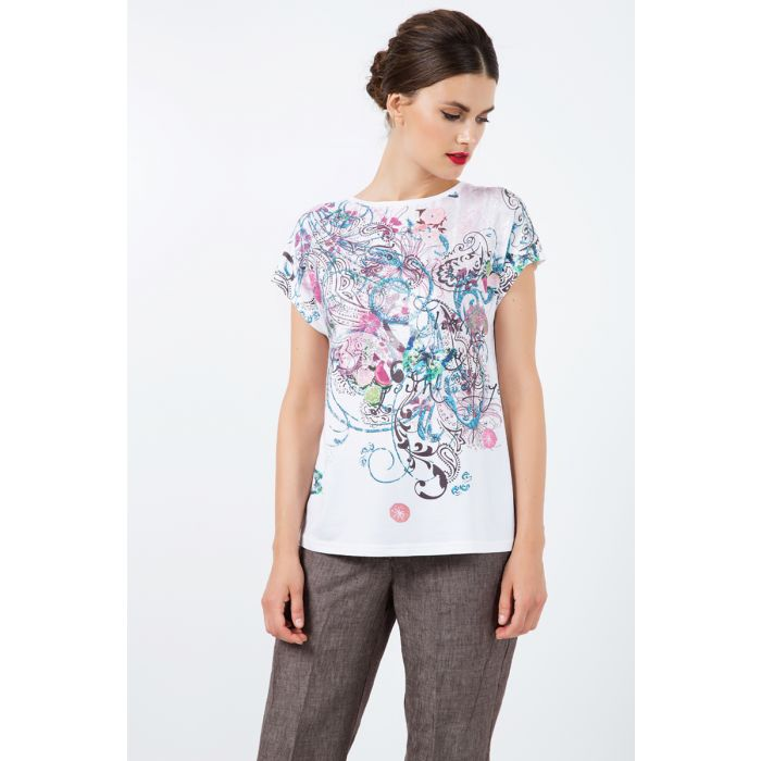 Image for Boat Neckline Top with Multicoloured Print