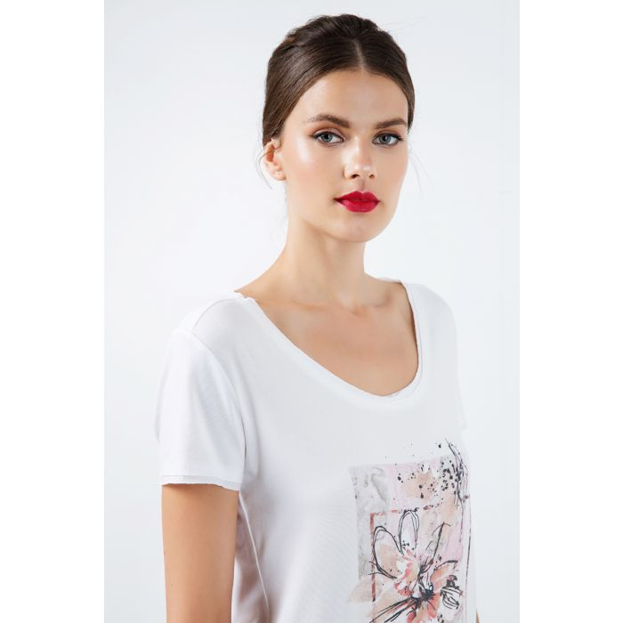 Image for Short Sleeve Top with Multicoloured Print Detail