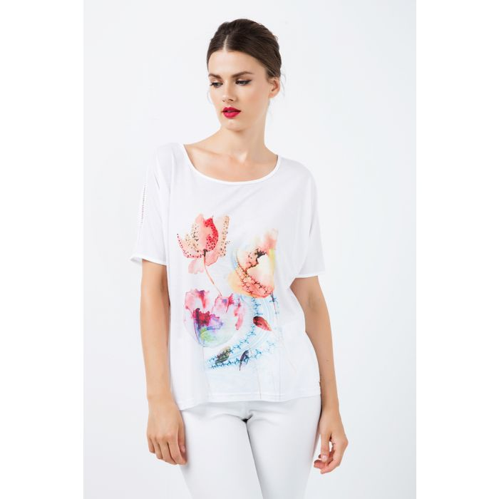 Image for White Jersey Top with Multicoloured Print