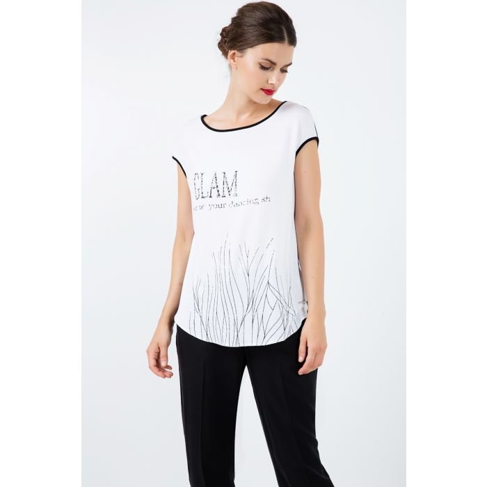 Image for Sleeveless Top with Black Foil Print