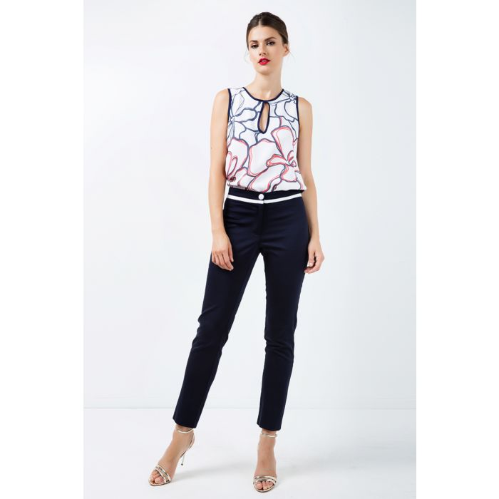 Image for Fitted Pants with Contrast Black Stripe