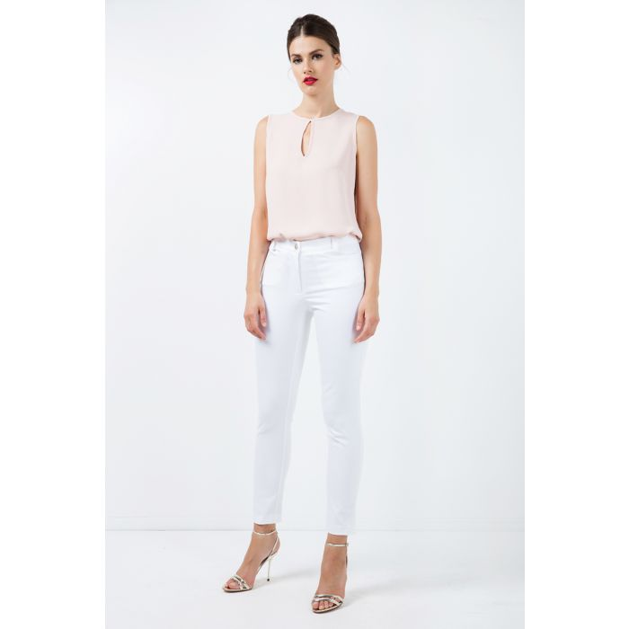Image for Long Fitted Gabardine Pants in White