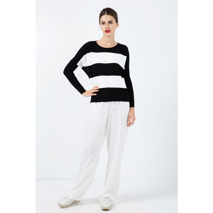 Image for Black and White Striped Sweater