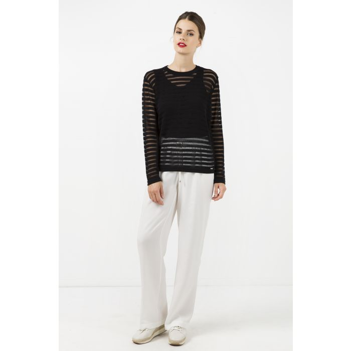 Image for Black Knit Top with Semi Sheer Stripes