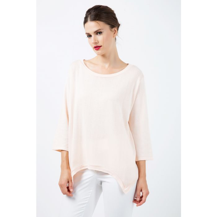 Image for Knit Cotton Top with an Uneven Hemline