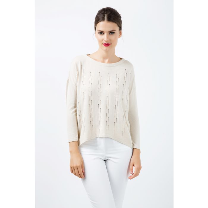 Image for Long Sleeve Knit Top with Uneven Hemline