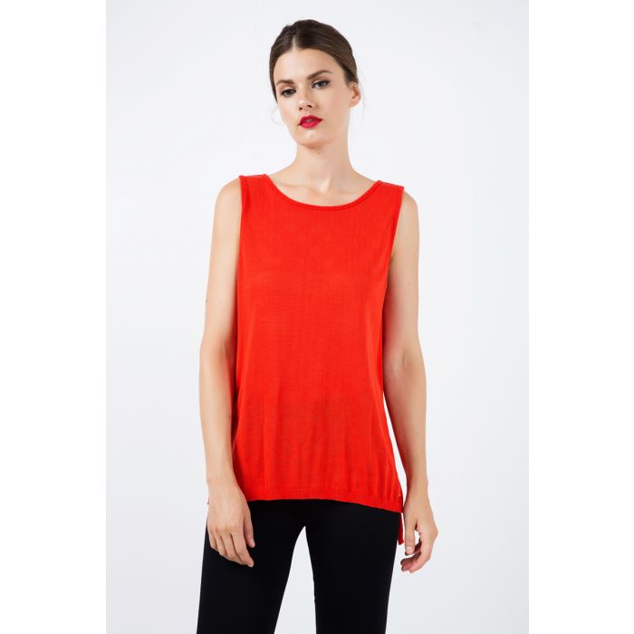 Image for Sleeveless Knit Top with Uneven Hemline