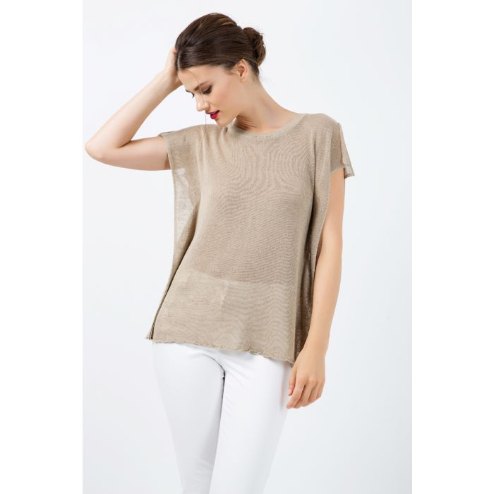 Image for Short Sleeve Semi Sheer Top with Shoulder Slits