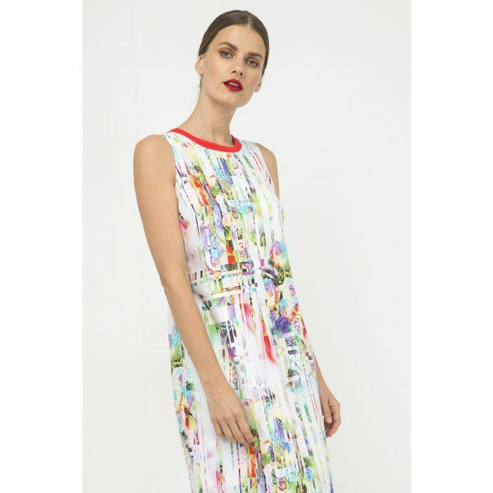 Image for Pleat Detail Sleeveless Print Dress