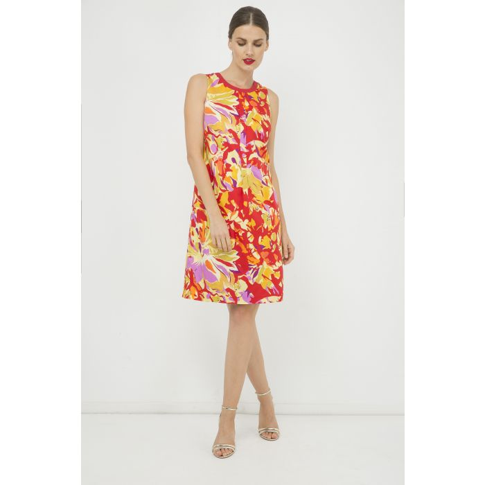 Image for Sleeveless Pleat Detail Cotton Dress