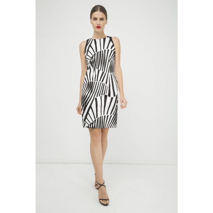 Image for Fitted Sleeveless Print Dress