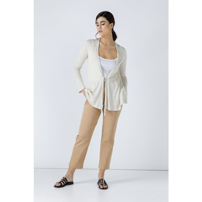 Image for Sand Open Front Linen Cardigan
