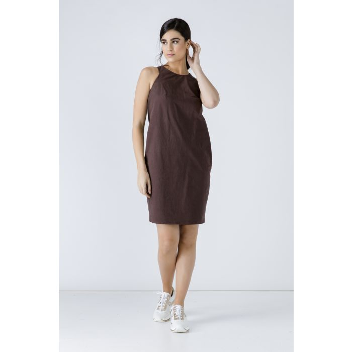 Image for Brown Cotton Sack Dress
