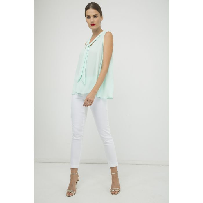 Image for Light Green Sleeveless Tie Detail Top