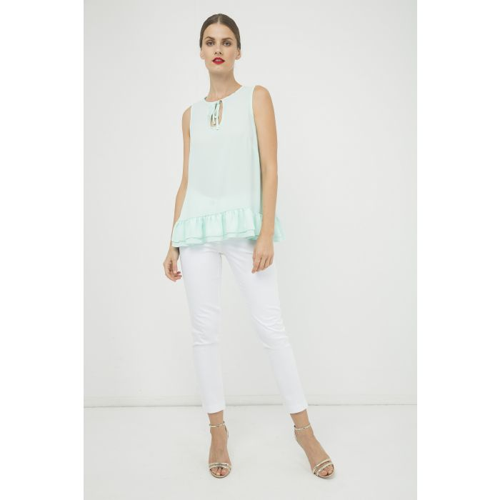 Image for Light Green Double Frill Detail Top