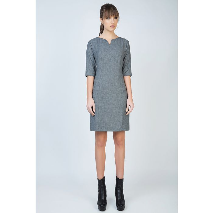 Image for Elbow Sleeve Straight Tailored Dress