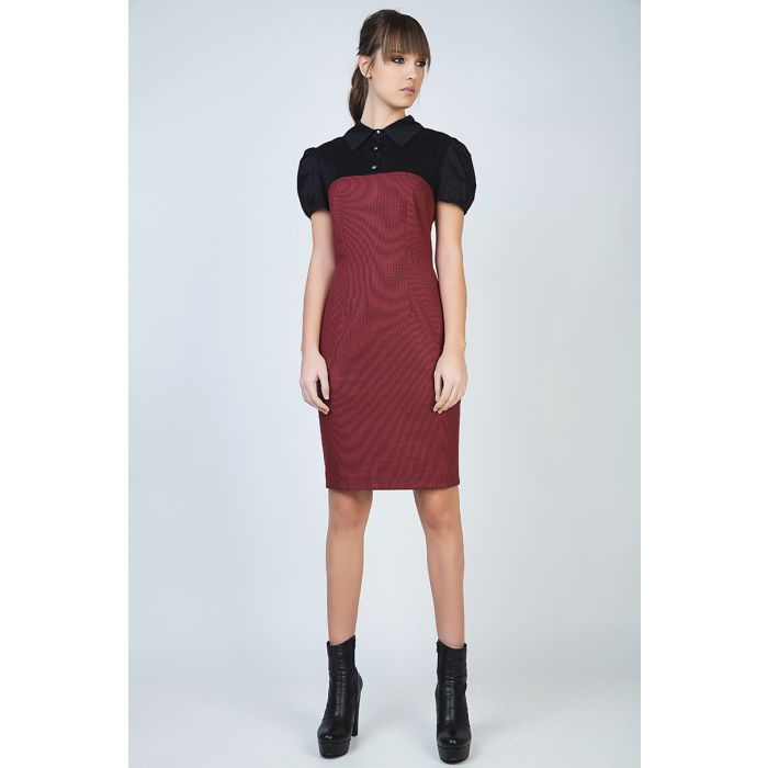 Image for Puff Sleeve Fitted Dress with Button Detail