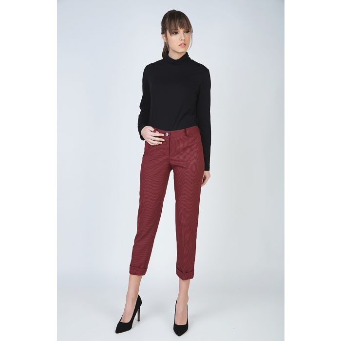 Image for Cropped Tapered Pants with Turn-Ups