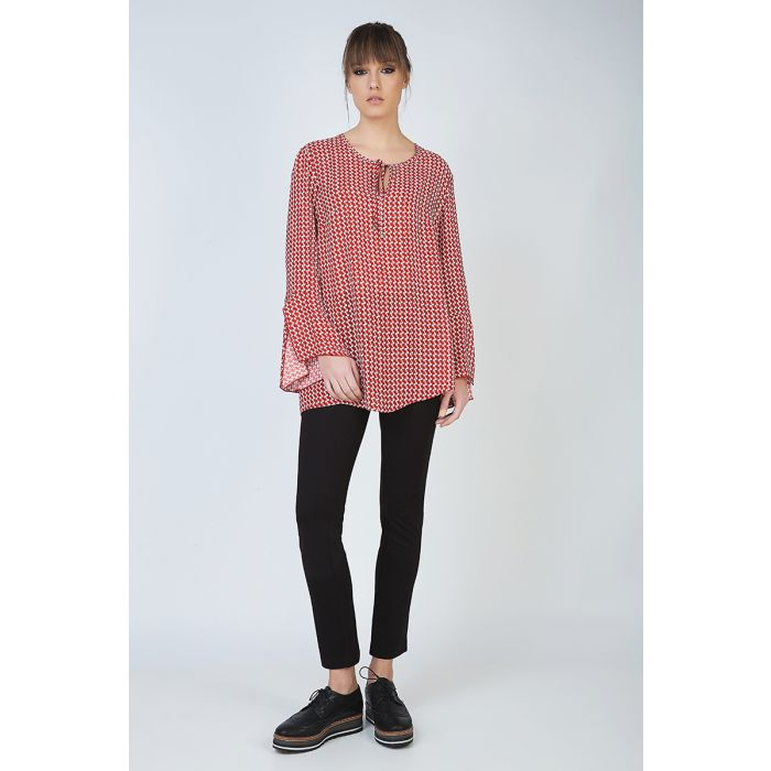 Image for Loose Fit Print Top with Tie Detail