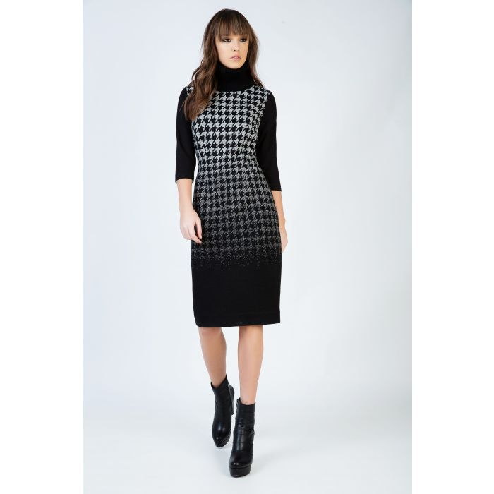 Image for Houndstooth Detail Turtle Neck Fitted Dress with ¾ Sleeves by Conquista Fashion