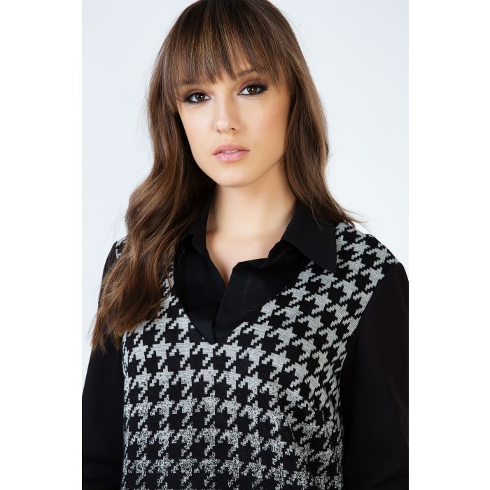 Image for Houndstooth Detail A Line Dress with Shirt Style Collar and Long Sleeves by Conquista Fashion