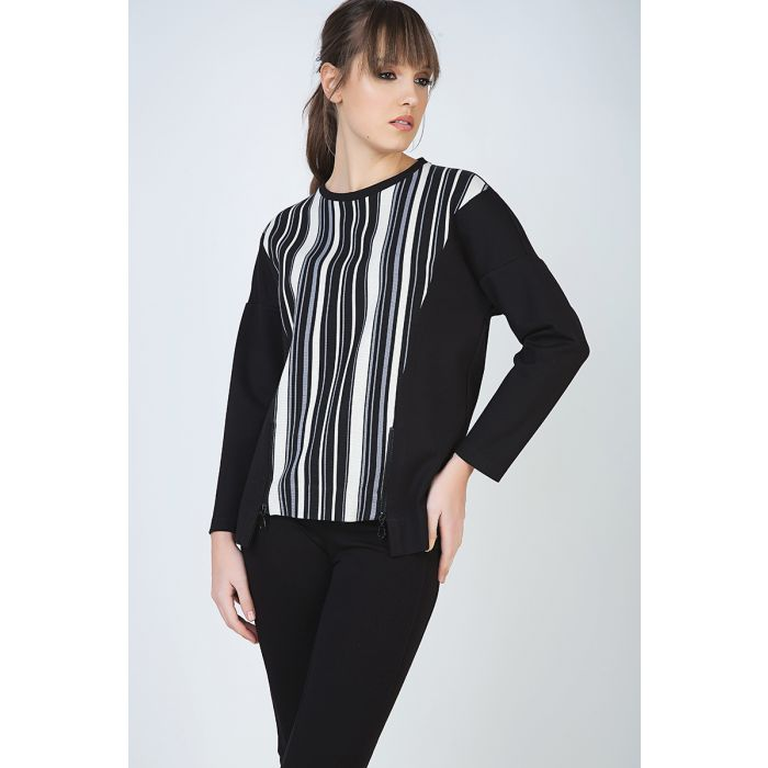 Image for Striped Long Sleeve Zip Detail Top