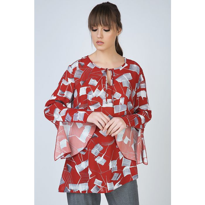 Image for Loose Fit Print Top with Bell Sleeves