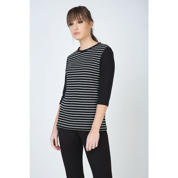 Image for Striped Top with 3/4 Sleeves