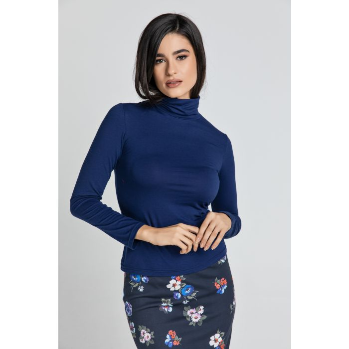 Image for Dark Blue Turtle Neck Top By Conquista
