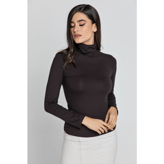 Image for Dark Brown Turtle Neck Top By Conquista