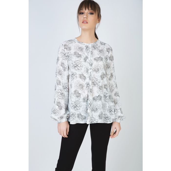 Image for Long Sleeve Floral Top with Round Neckline and Button Fastening at the Nape by Conquista Fashion