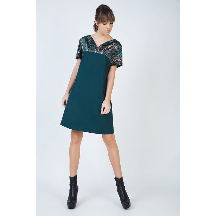Image for Short Sleeve A Line Dress with Print Detail