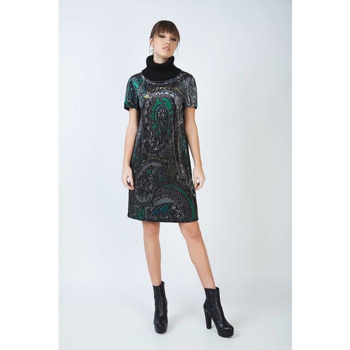 Image for Turtleneck A Line Print Dress