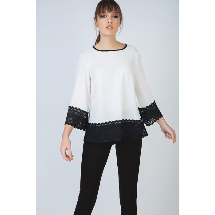 Image for Loose Fit Ecru Top with Black Lace Detail