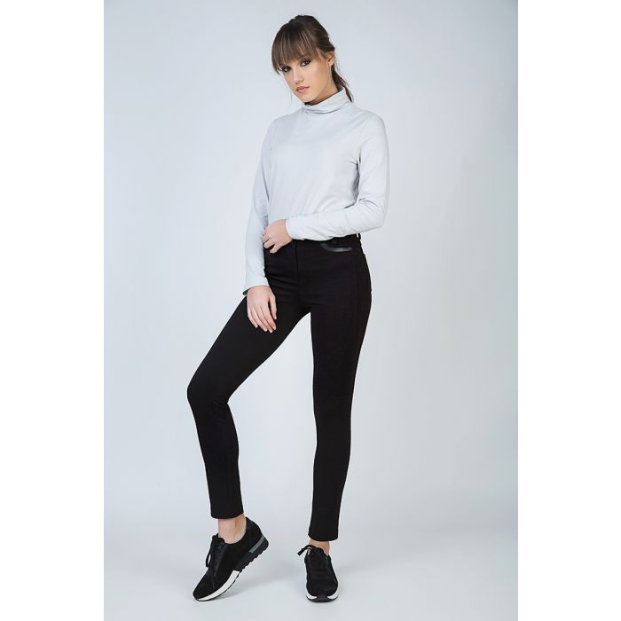 Image for Black Mid Rise Pants with Pleather Detail