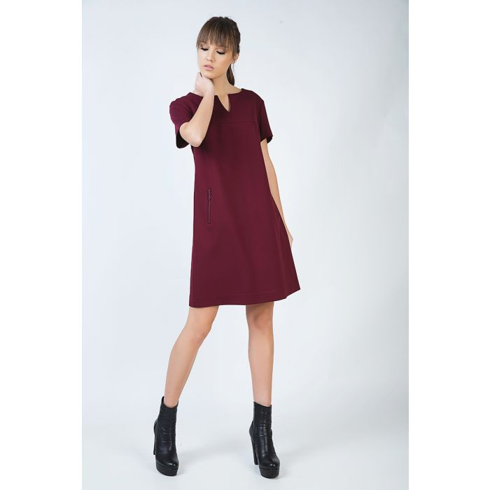 Image for Burgundy Sack Dress in Stretch Punto di Roma Fabric