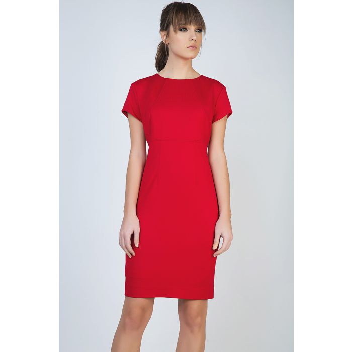 Image for Red Short Sleeve Dress in Stretch Fabric