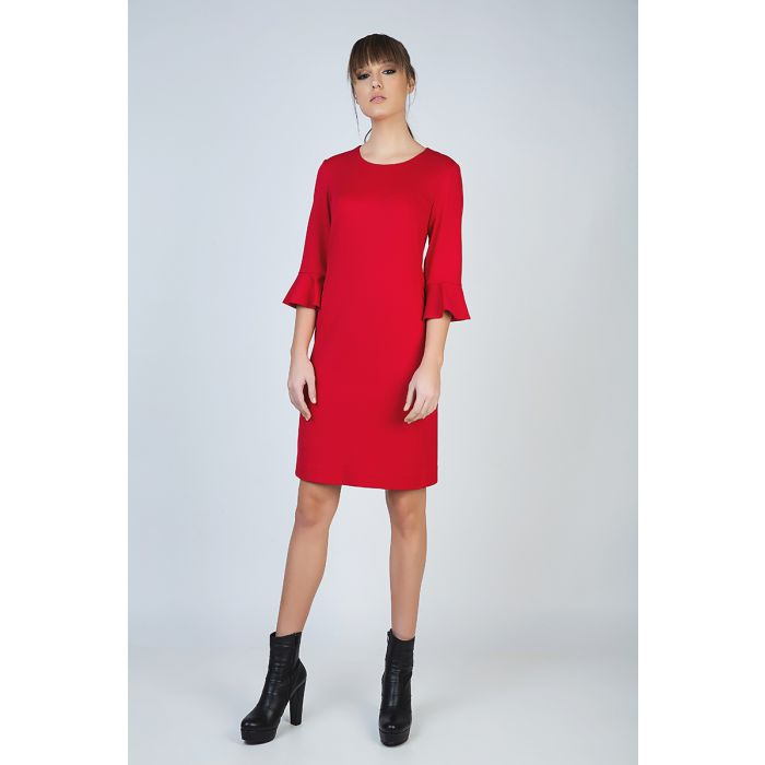Image for Sleeve Detail Red Dress in Stretch Punto di Roma Fabric