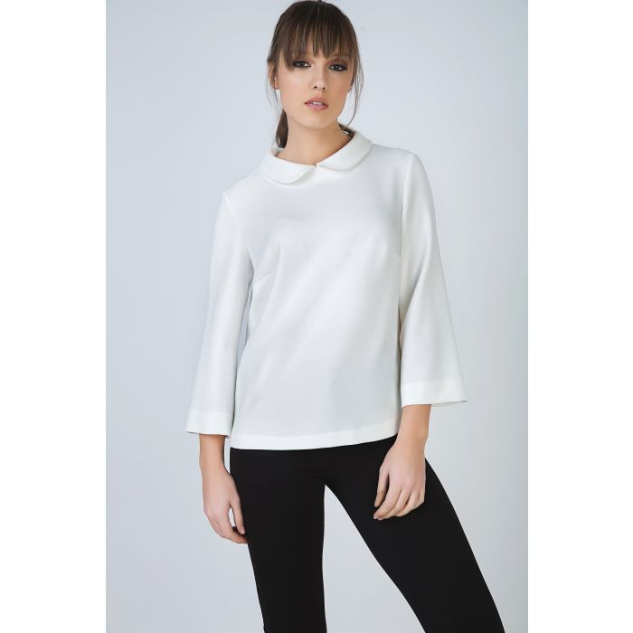 Image for Cream Top with Peter Pan Collar